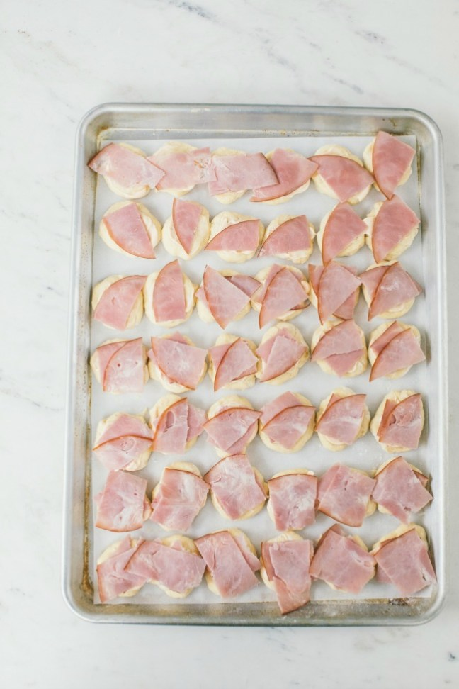 Ham on top of brioche dough on baking sheet | Artisan Bread in 5 Minutes a Day