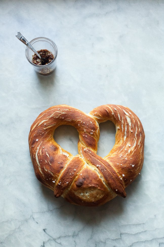 Giant Pretzel with Mustard from Holiday and Celebration Bread in Five Minutes a Day   Bread in 5