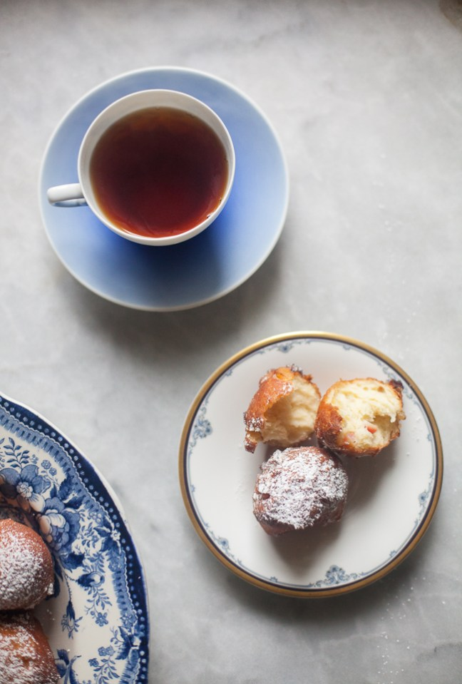Brioche Apple Fritters topped with powdered sugar | Artisan Bread in Five Minutes a Day
