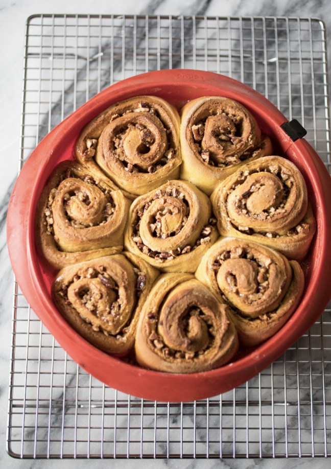 Pumpkin Sticky Nut Rolls on a Cooling Rack | Artisan Bread in Five Minutes a Day