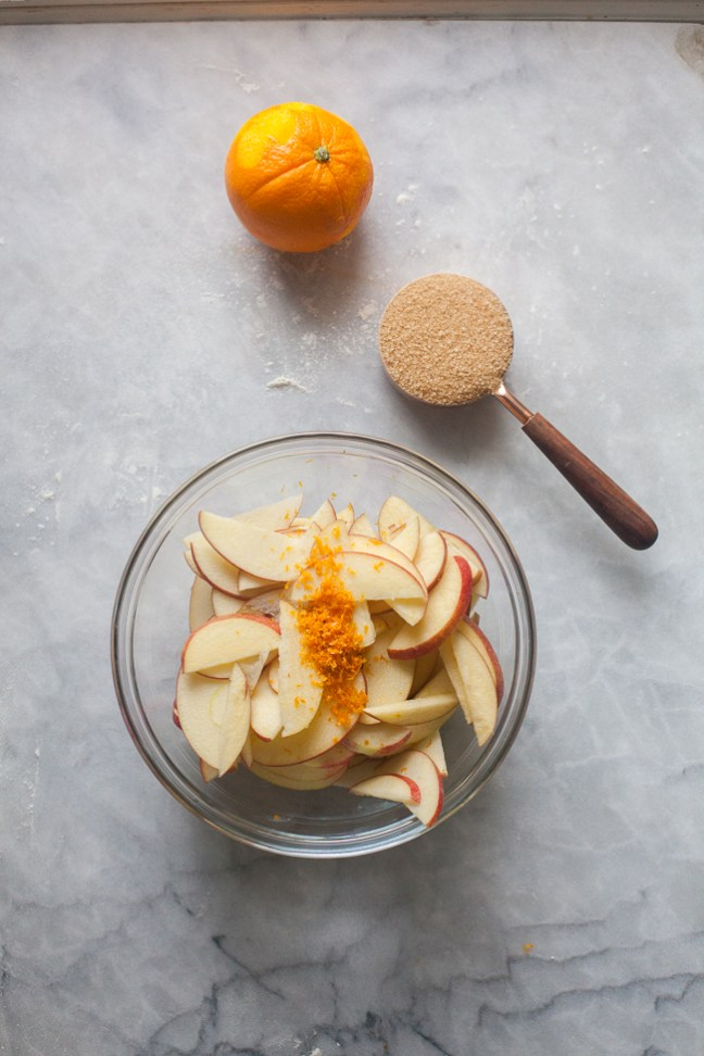 Apples and orange zest in a bowl before adding brown sugar | Artisan Bread in Five Minutes a Day