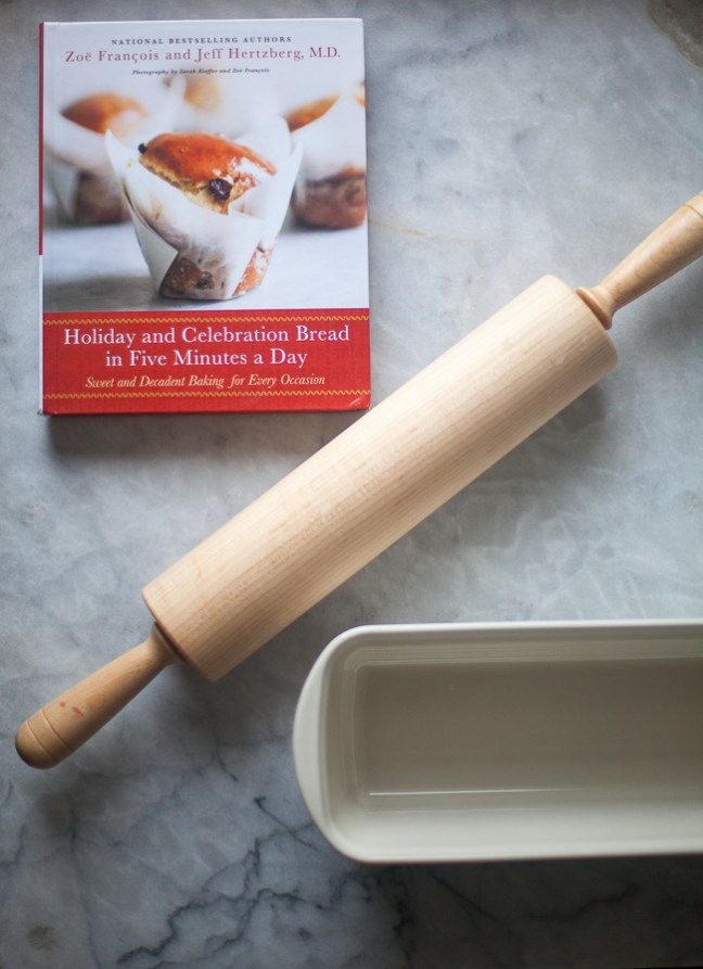 Holiday and Celebration Bread in Five Minutes a Day, rolling pin and bakeware