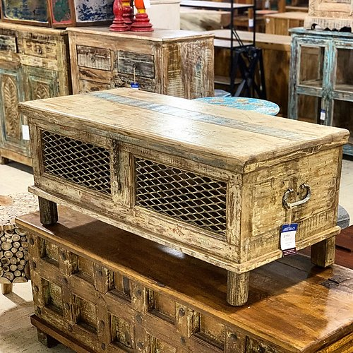 sold reclaimed wood and metal coffee table trunk