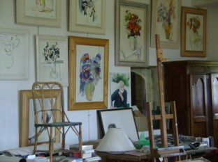Vue de l'atelier du peintre. Wiew of the painter.