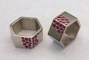 Ruby ring set plated in platinum