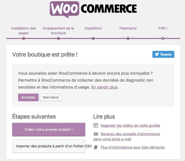 créer un site pour vendre ses créations en ligne : woocommerce configuration terminée