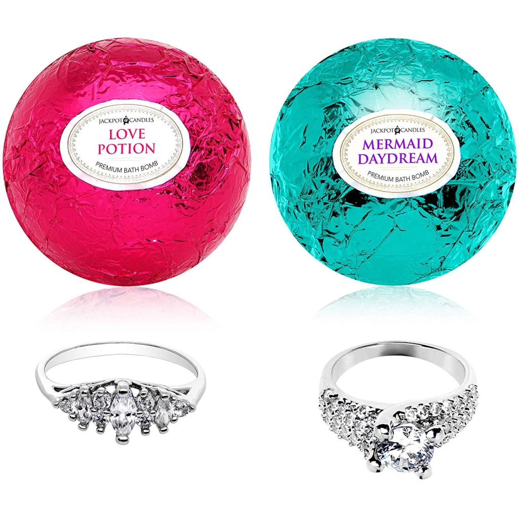 Mermaid Love Potion bath bombs with rings