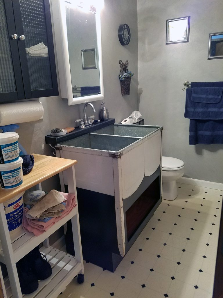 vintage double utility sink hallway