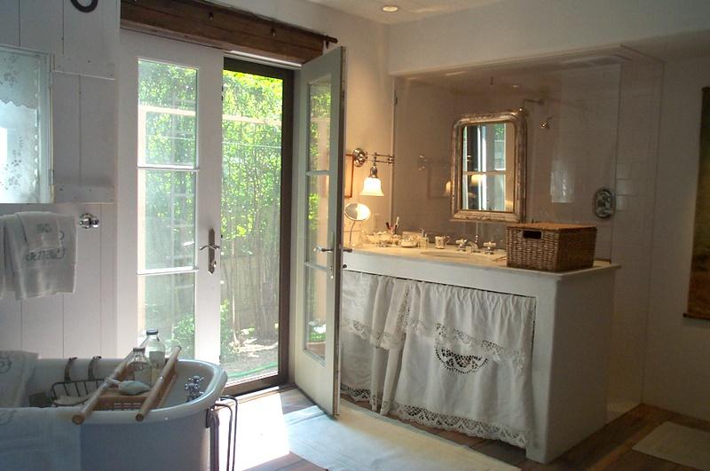 Barbara Garfield Barn Bathroom outdoor shower patio