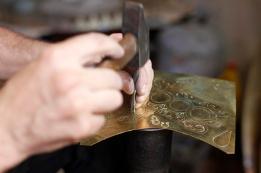 Mo's Hands. Copper Engraver in Fez medina.
