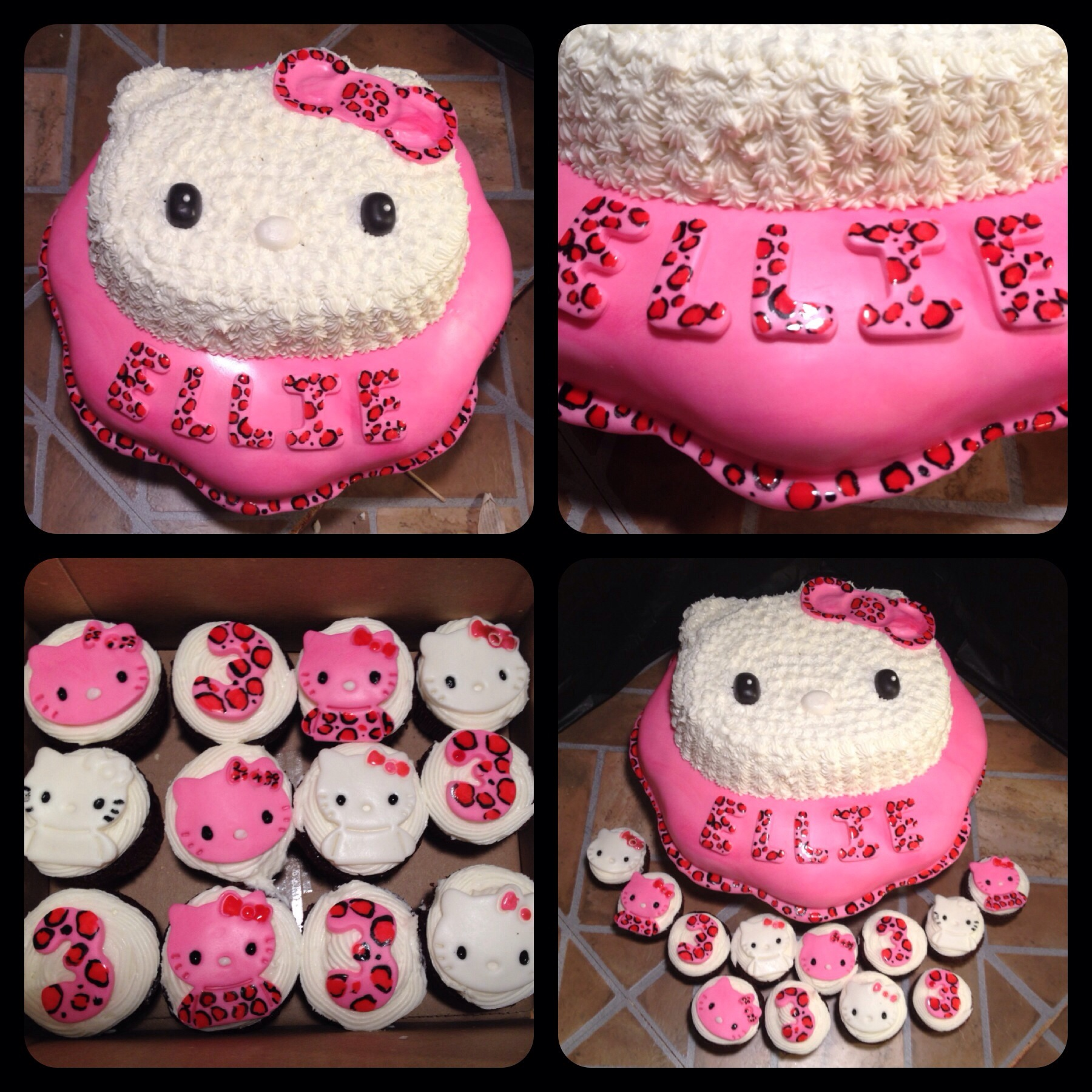 Hello Kitty Cake W Leopard Print And Matching Cupcakes