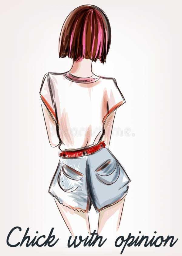 Девушка нарисованная со спины карандашом – Ой!