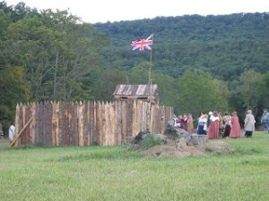 Fort Seybert flying the British flag