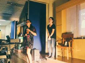 S34 Technical Director Michelle Lozare and S34 alumna Jowie Bigornia for the Technical Directing and Design workshop.