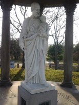 Statue of St . Joseph l carved a new hand and stave which was missing for some thirty years due to vandalism. This piece dates back to 1830's.
