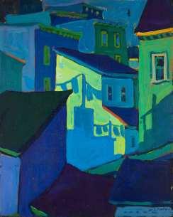 Maison vert | bleu - 1977-1979 Acrylique sur toile 41cm X 51cm Louis Fortier PRIX : Oeuvre non disponible (vendue)