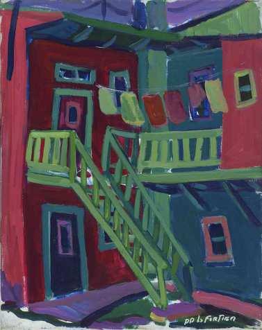 Galerie verte - 1977-1979 Acrylique sur toile 41cm X 51cm Louis Fortier PRIX : Oeuvre non disponible (vendue)