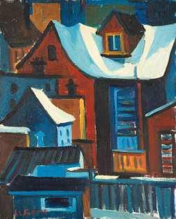 Maison hiver - 1977-1979 Acrylique sur toile 41cm X 51cm Louis Fortier PRIX : Oeuvre non disponible (vendue)