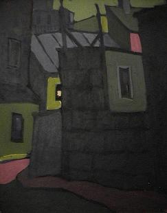 Batisse tôle jointe | ciel vert - 1977-1979 Acrylique sur masonite 41cm X 51cm Louis Fortier