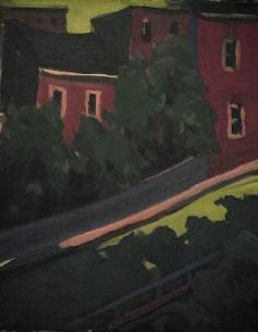 Côte arbres maison rouge - 1977-1979 Acrylique sur toile 41cm X 51cm Louis Fortier PRIX : Oeuvre non disponible (vendue)