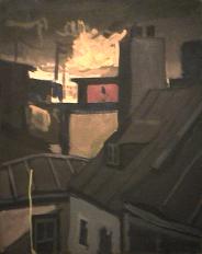 Ciel fumé - 1977-1979 Acrylique sur toile 61cm X 77cm Louis Fortier