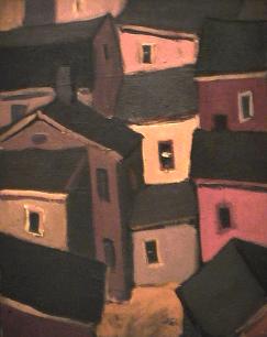Maison orange - 1977-1979 Acrylique sur toile 41cm X 51cm Louis Fortier PRIX : 475$