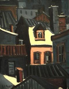 Maison lumière beige - 1977-1979 Acrylique sur toile 41cm X 51cm Louis Fortier