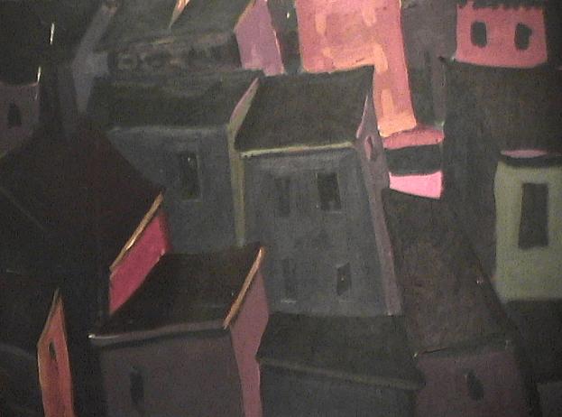 Ilôt de maisons - 1977-1979 Acrylique sur masonite 61cm X 46cm Louis Fortier PRIX : 625$