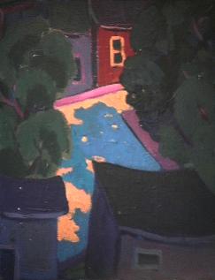 Maison mauve avec arbre - 1977-1979 Acrylique sur toile 41cm X 51cm Louis Fortier PRIX : 475$