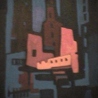 Fond bleu - 1980 Acrylique sur toile 41cm X 51cm Louis Fortier