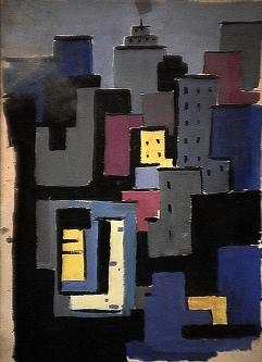 Complexe - 1980 Acrylique sur carton 34cm X 51cm Louis Fortier