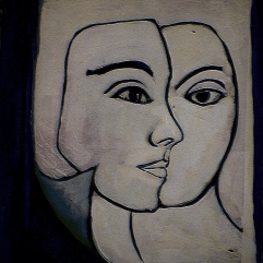 Face à papier - 1984 Acrylique sur masonite 21cm X 26cm Louis Fortier