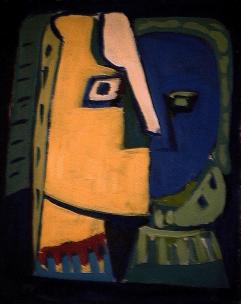 Psychiatrie - 1984 Acrylique sur masonite 21cm X 26cm Louis Fortier