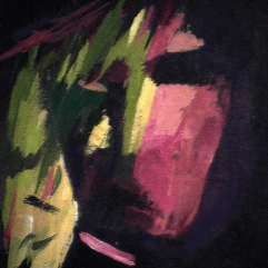 Guerrier - 1984 Acrylique sur masonite 21cm X 26cm Louis Fortier