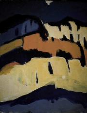 Montagne - 1984 Acrylique sur carton 21cm X 26cm Louis Fortier