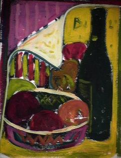 Repas pour Bill - 1984 Acrylique sur masonite 21cm X 26cm Louis Fortier