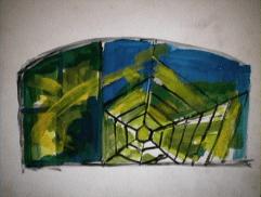 Vitrine canardière - 1984 Acrylique sur masonite 21cm X 26cm Louis Fortier