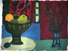 Panier fruits - 1984 Gouache sur carton 21cm X 26cm Louis Fortier