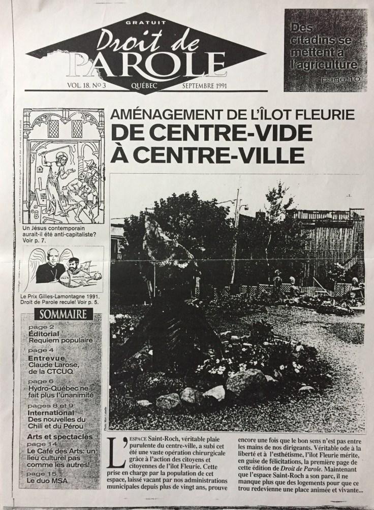 Droit de Parole Aménagement de l'îlot Fleurie de Centre-vide à centre-ville
