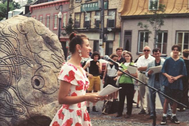 Dévoilement Prédateur Nancy St-Hilaire, relationniste Îlot Fleurie Îlot Fleurie 9 août 1996