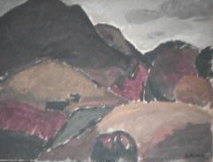 Les trois monts - 1982 Acrylique sur masonite 51cm X 41cm Louis Fortier