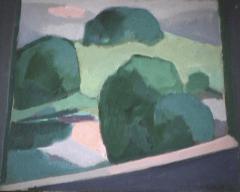 Forêt verte - 1982 Acrylique sur masonite 41cm X 51cm Louis Fortier