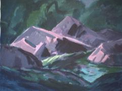 Rivière Saint-Adolphe - 1979 Acrylique sur toile 51cm X 41cm Louis Fortier