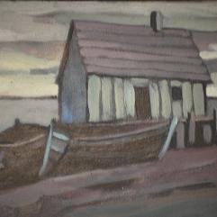 Cabane de pêche - 1979 Acrylique sur masonite 26cm X 20cm Louis Fortier PRIX : 75$