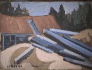Moulin à Saint-Adolphe - 1979 Acrylique sur masonite 26cm X 20cm Louis Fortier