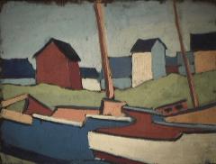 Village de pêcheurs - 1979 Acrylique sur masonite 26cm X 20cm Louis Fortier
