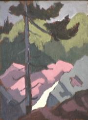 Ruisseau - 1979 Acrylique sur masonite 26cm X 20cm Louis Fortier