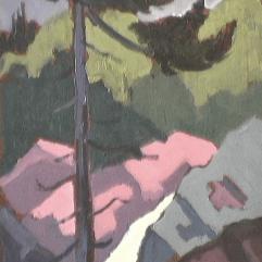 Ruisseau - 1979 Acrylique sur masonite 26cm X 20cm Louis Fortier PRIX : 75$