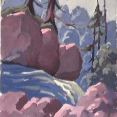 Trois rochers - 1979 Gouache sur carton 29cm X 36cm Louis Fortier PRIX : 125$