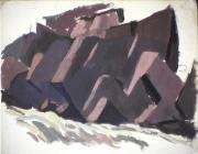 Rapides - 1979 Gouache sur carton 35cm X 28cm Louis Fortier